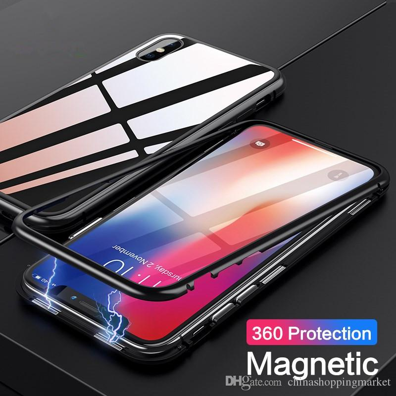 Magnetic Phone Case Adsorption Tempered Glass Back Panel Cover For iPhone 8 7 6S X Xr Xs Max Plus Samsung S8 S9 S10 Plus S10E Note 9 8