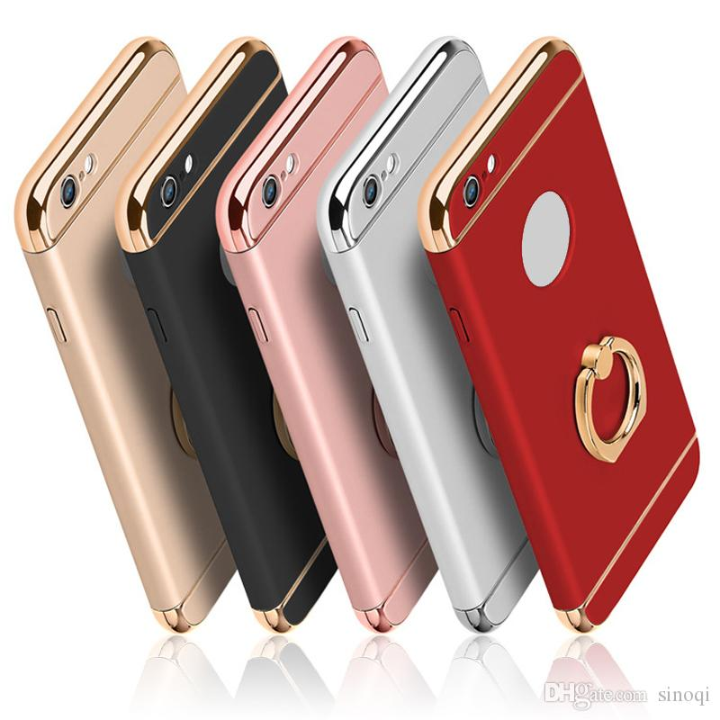 Ultra Thin Full Protection Electroplated Ring buckle 3 in 1 Case Hard PC Cell Phone Back Cover for iPhone 6 6s 7 Plus