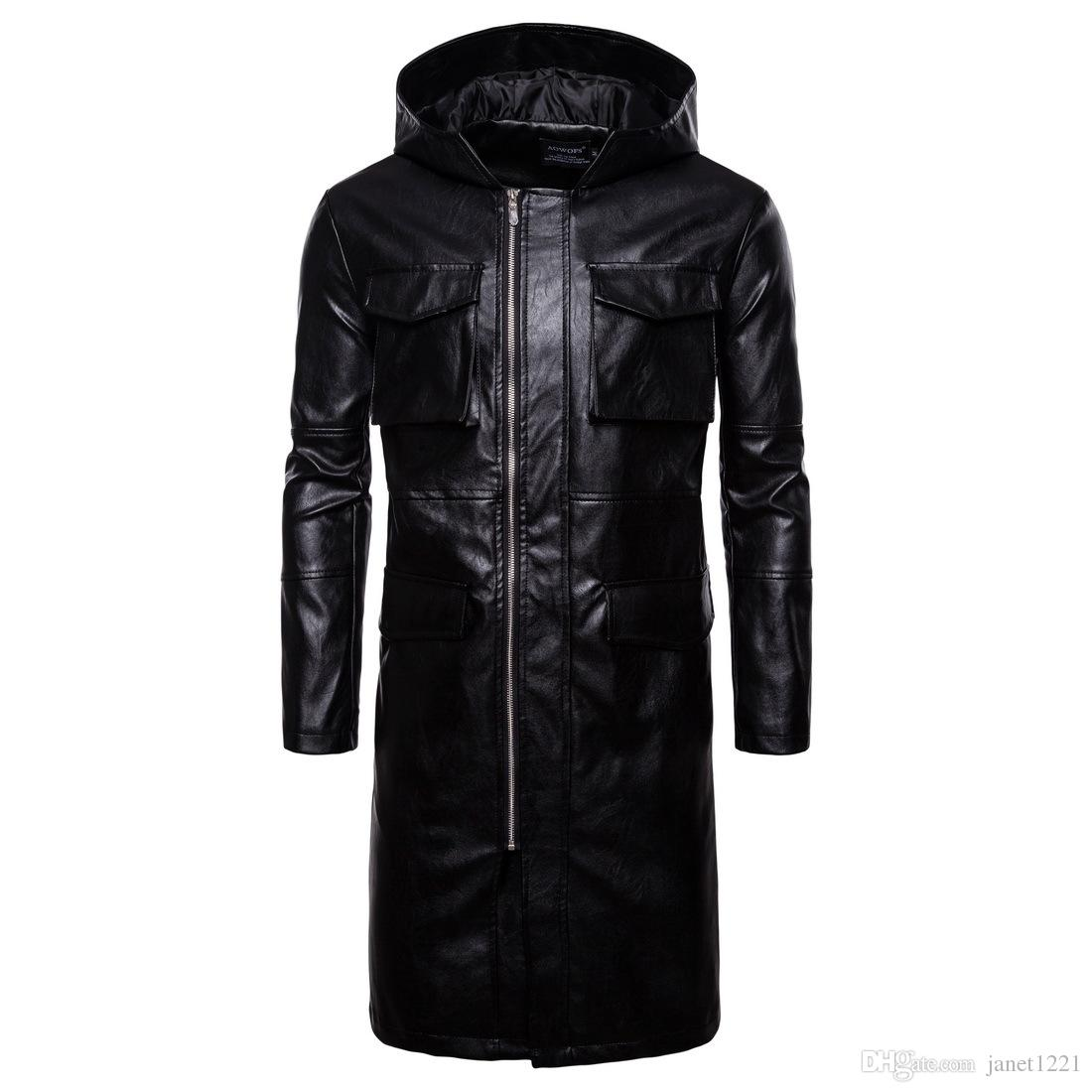 Hooded Winter Men PU Long Jacket Trench Black Windproof Motor Men Long Pea Jacket Overcoat Multi Pocket Style Men Leather Coat J180771
