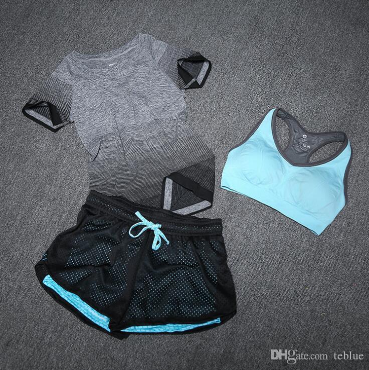 Yoga Esporte Terno Conjunto de Sutiã 3 Peça Feminina de Manga Curta Mulheres Sportswear Verão Correndo Roupas de Treinamento de Fitness