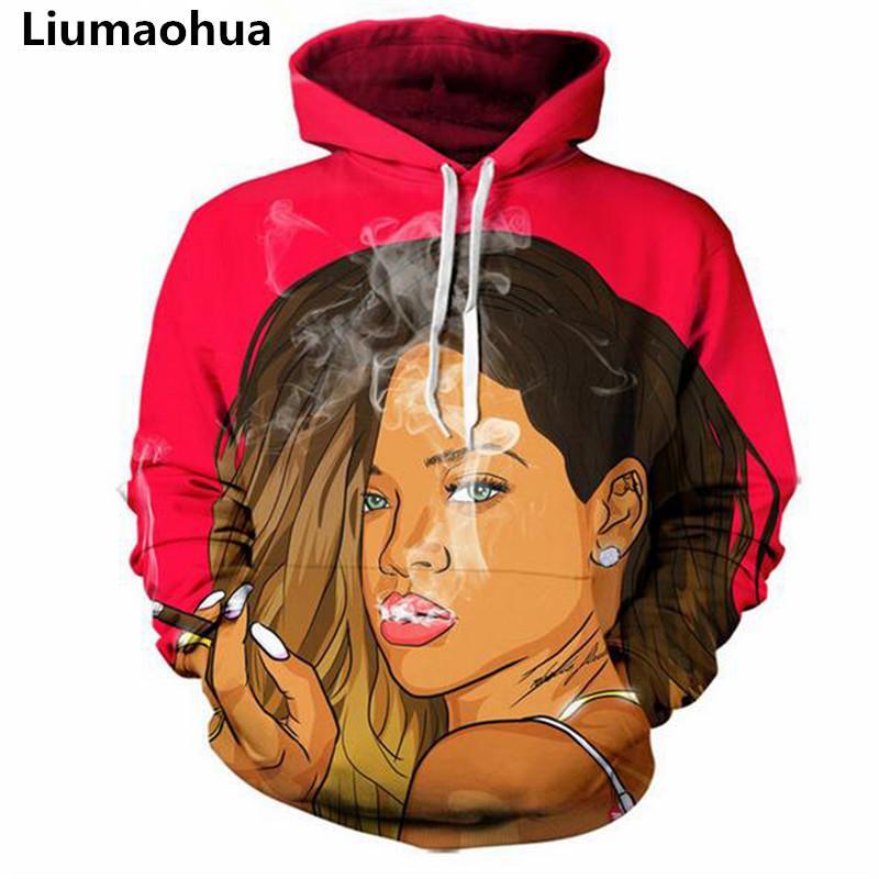 Liumaohua новый уличный стиль перемычки мужчины женщины красивые 3D толстовки Bad Gal Riha печати с капюшоном толстовки размер S-5XL бесплатная доставка