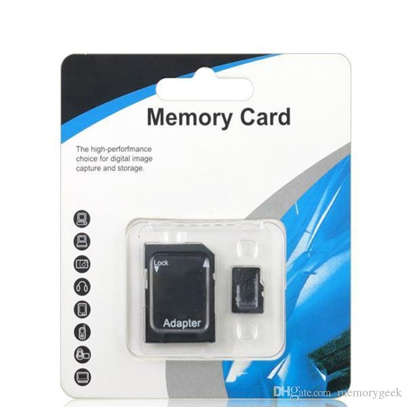 Голубой Белый Generic 80MB / S 90MB / S 32GB 64GB 128GB 256GB С10 TF флэш-карты памяти Class 10 Free SD Adapter Retail блистерной упаковки