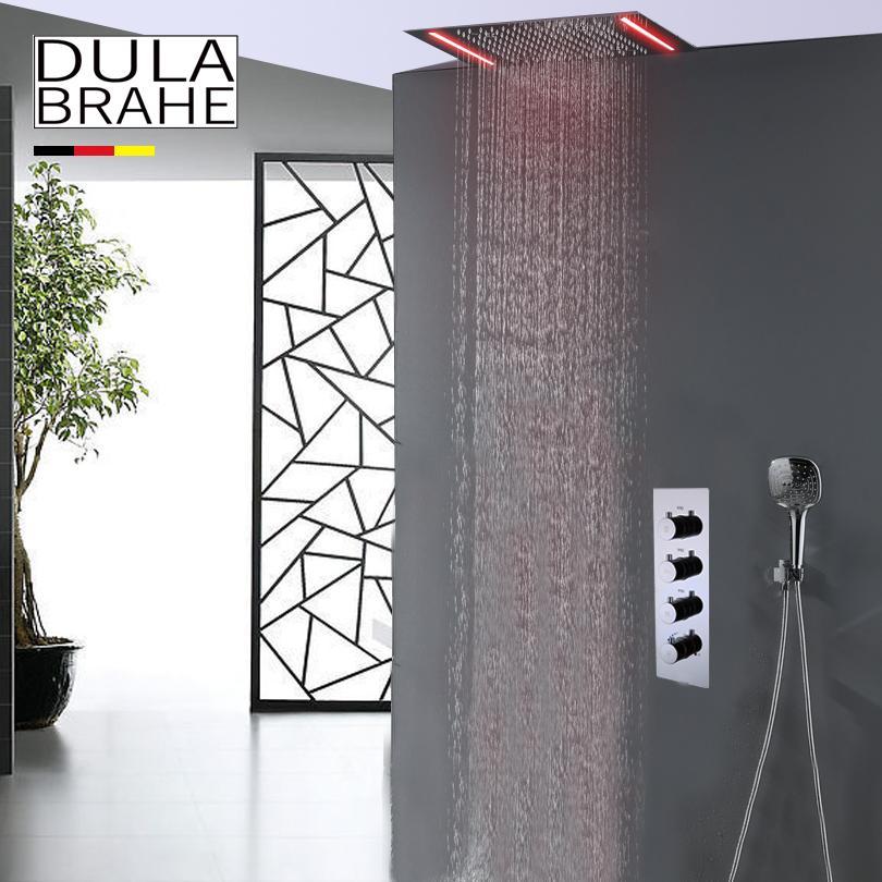 Termostato Baño Grifo de la ducha Conjunto de mezclador de agua caliente y fría Válvula de ducha mezcladora Funciones de atomización LED y ducha de lluvia Cabeza