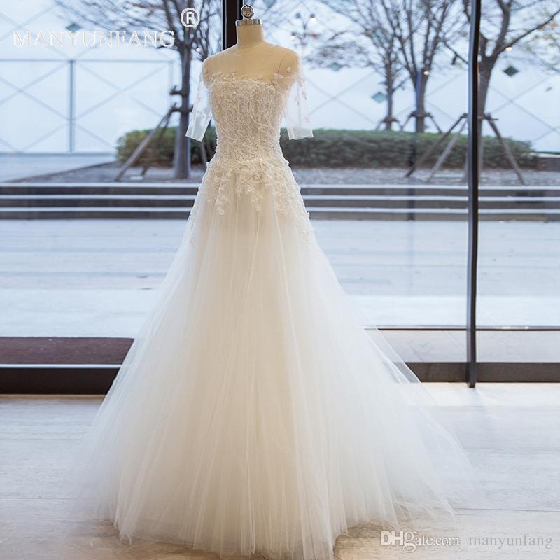 Простой Половина рукава A-Line трехмерные кружева и кристаллы пляж страна свадебные платья 2019 топ Boho на заказ чешский свадебное платье