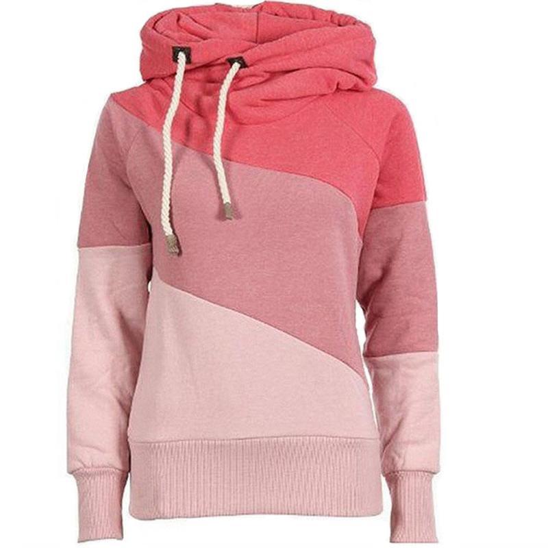 Autumn Hoodies Sweatshirt 2018 여성 캐주얼 더블 후드 티 패치 셔츠 긴 소매 풀오버 코튼 블렌드 후드 XXL