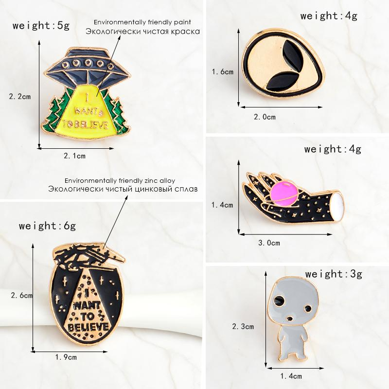 5pcs/set I WANT TO BELIEVE Alien baby UFO Space shuttle Planet Brooch Denim Jacket Pin Buckle Shirt Badge Gift for Friend