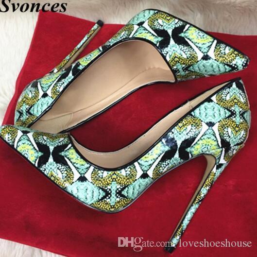 Zapatos de vestir de tacón alto de las mujeres del diseño de la moda italiana Bombas de tacón de aguja de la fiesta de la serpiente impresa 12 cm zapatos de vestir del talón fino