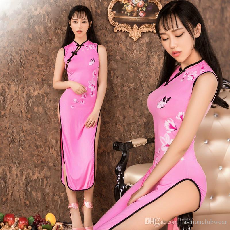 Yeni Varış Kadın Cosplay Pembe Baskı Seksi Çin Cheongsam Üniforma Erotik Yüksek Bölünmüş Sıkı Bodycon Uzun Elbise Egzotik giyim
