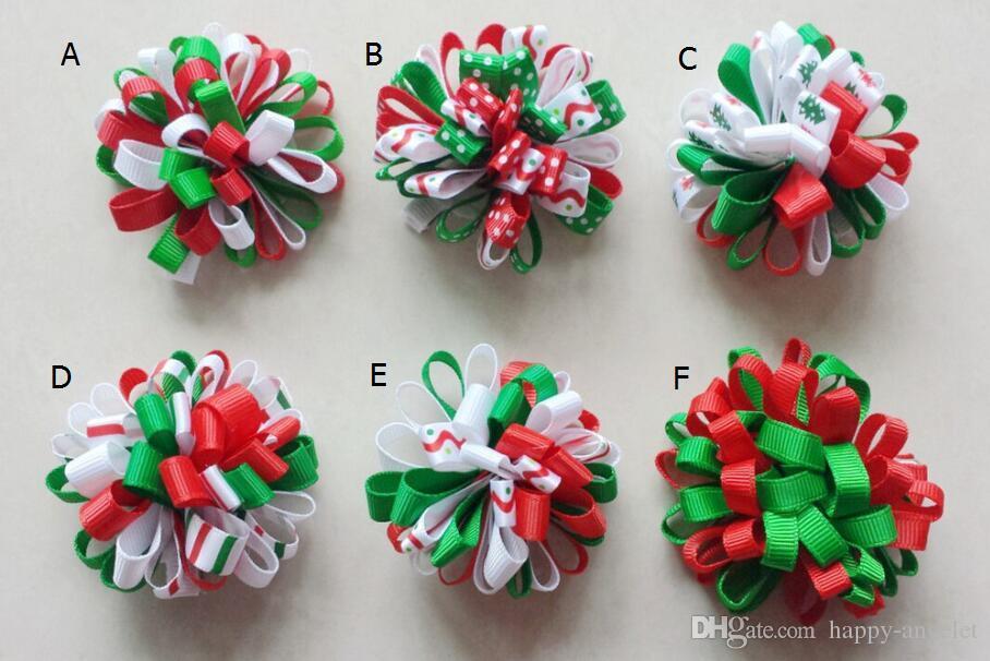 Christmas Loopy Bows Clips Hair Accessories Girl Ribbon Boutique Xmas Hair Bows Clip Flower Hair ties Girls headband 24pcs HD3236