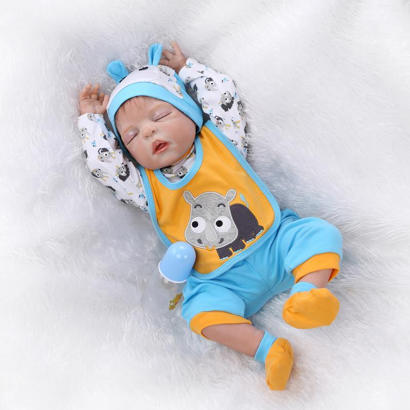"22/"" Full body Soft Vinyl Silicone Reborn Baby Dolls Realistic Newborn Boy Doll"