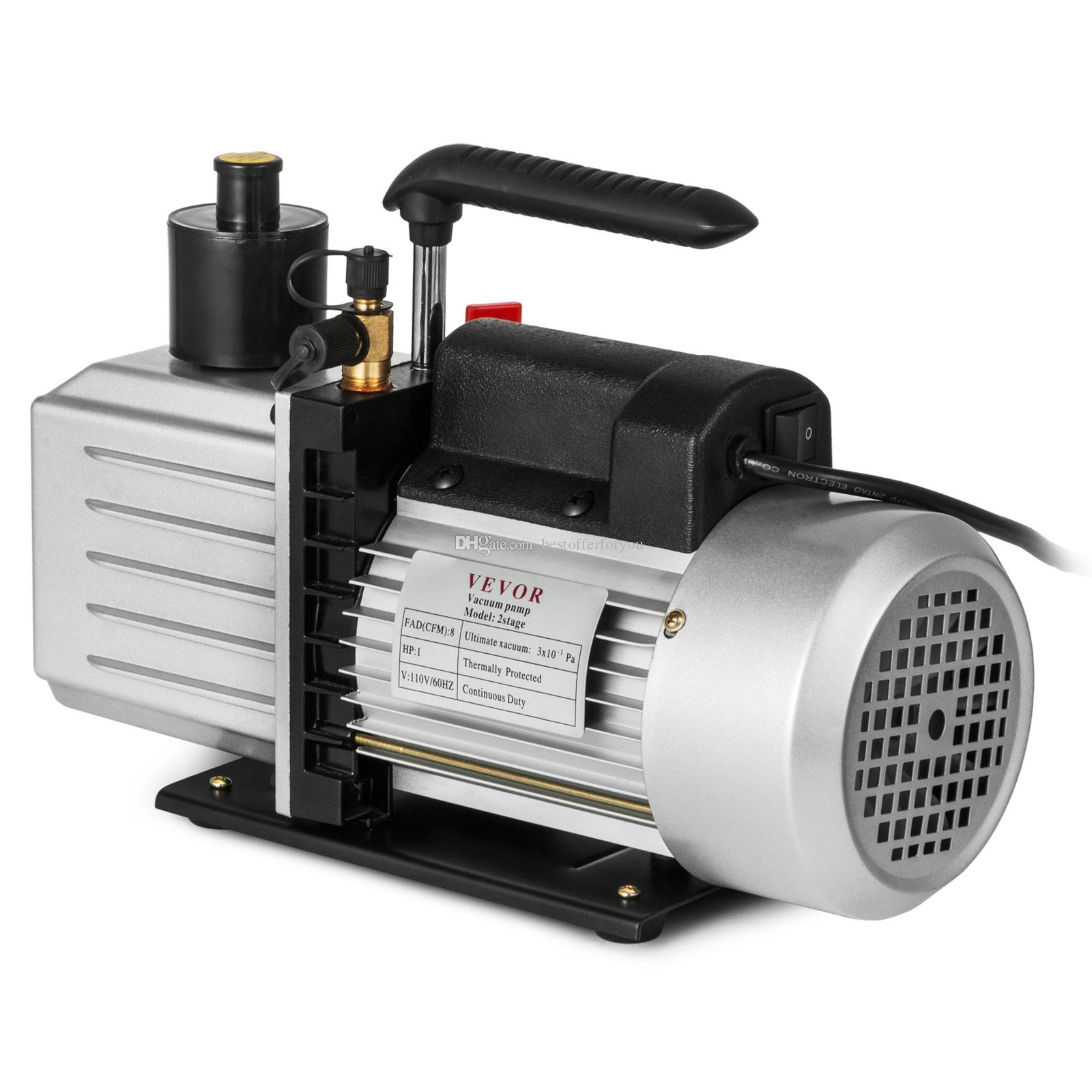 "8CFM Two-Stage Rotary Vane Professional Vacuum Pump 15Micron 1HP 1/4""flare 3/8 SAE 1/2""ACME inlet"