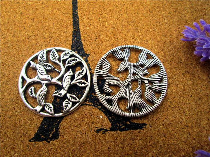 24PCS, Birds Sitting on Tree, Tree of Life Pendant Tree Charms, Silver, Bronze, Supplies, 30MM