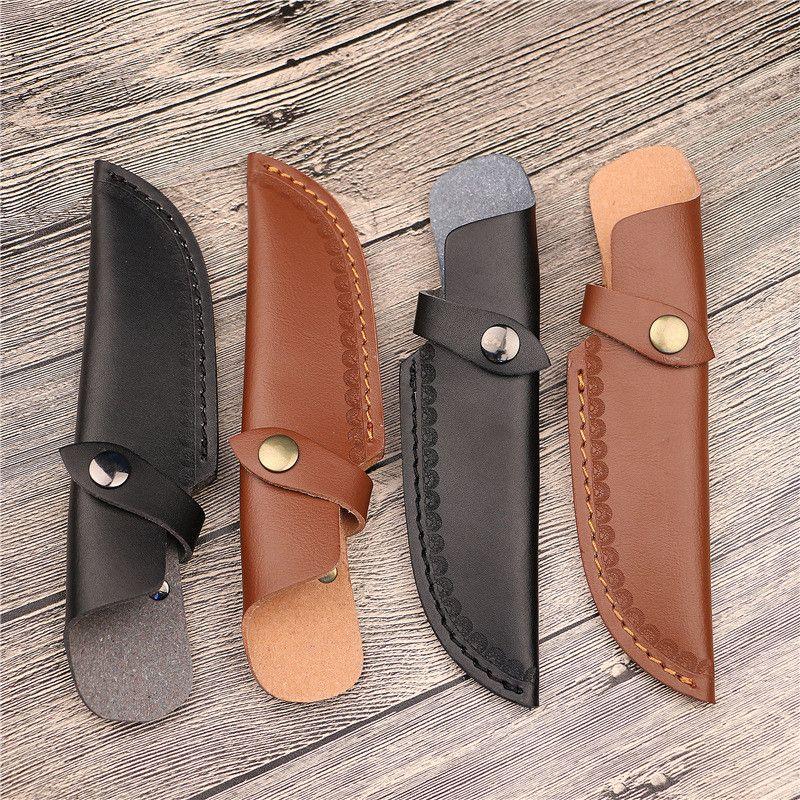Gaine de lame droite avec ouverture au-dessus pour porte-couteau en cuir