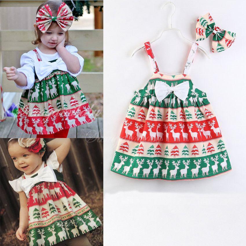 2018 INS Noel Kız bebek giyim Genel elbise Sevimli Ren Geyiği Santa Clause Tam baskılı Yay Yüksek bel Toptan