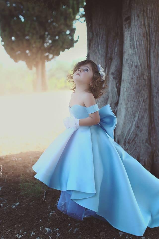 Festa de aniversário para o azul barato bebê adoráveis Meninas Pageant Vestidos Alças Hi-Lo Satin Bow Knot vestido da menina flor vestidos Vestidos