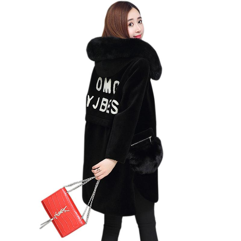 2018 Winter fashion women's sheep shearing thick warm coat extra large fat MM fur collar coat long paragraph fur jackets 100 kg