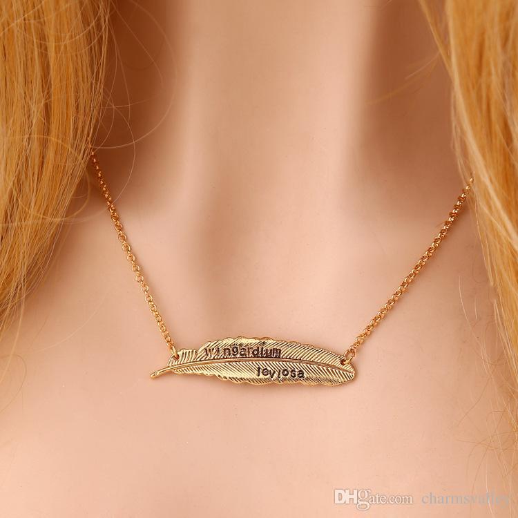 2 Color 55 * 12 MM Hoja Del Árbol Colgante, Collar de Hojas de Plumas Colgante Para Las Mujeres Señoras Regalos de Joyería