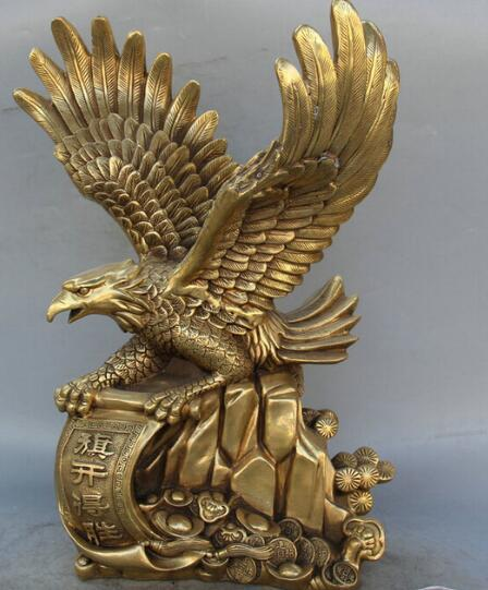 "WBY JP S62 17"" Chinese Brass Wealth King Bird Fly Money Animal Hawk Eagle Sculpture Statue"