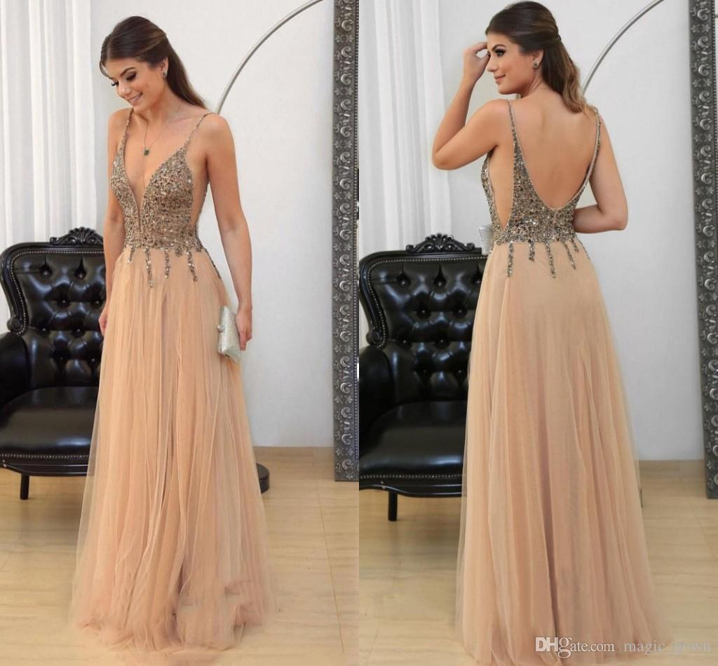 Champagne Sexy Prom Dresses 2018 Deep V Neck Beads Crystals Backless Long Formal Dresses Red Carpet Runway Dresses Evening Gowns Custom
