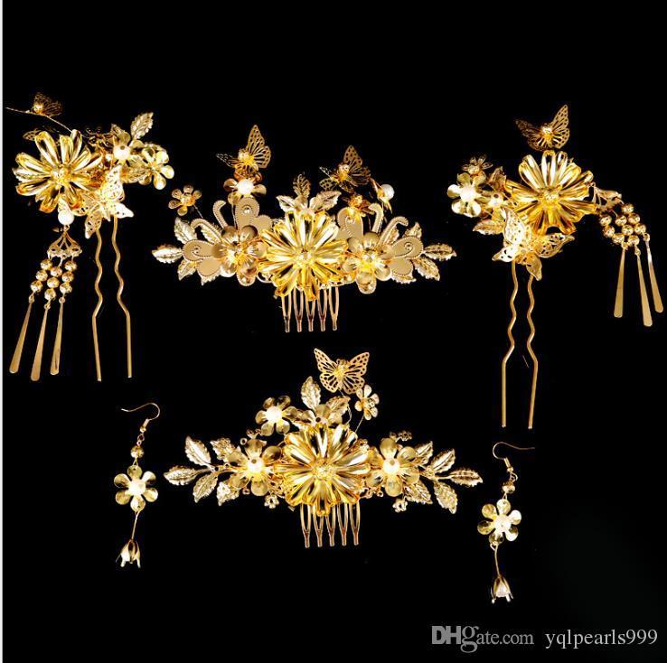 La novia tocado traje de oro horquilla Bob cinco piezas novia de la boda Coronet accesorios de joyería