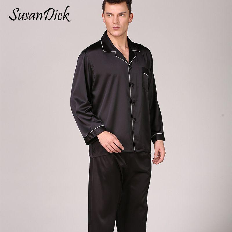 SusanDick Black Silk Pyjamas Sets Männer Frühling Herbst Luxus Satin Nachtwäsche Set Langarm Solide Mann Casual Home Kleidung Pijama