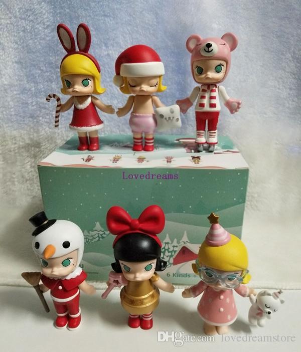 2018 Nova Caixa de Edição Limitada Popmart Molly Série de Natal Anime Action Figure Boneca PVC Brinquedo de Presente de Aniversário