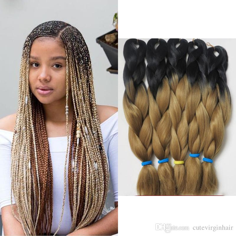 Ombre Kanekalon Braiding Hair 1b 30 Two Tones Ombre Color Synthetic Jumbo Braids Hair Wholesale Crochet Hair Extension Folded 24 Inch 100g Buy Hair Extensions In Bulk Hair Extensions In Bulk From Cutevirginhair