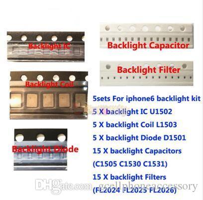 5set / lot pour iPhone 6 Kit de solutions de rétro-éclairage 6plus Kit IC U1502 + bobine L1503 + diode D1501 + Condensateur C1530 31 Filtre C1205 FL2024-26