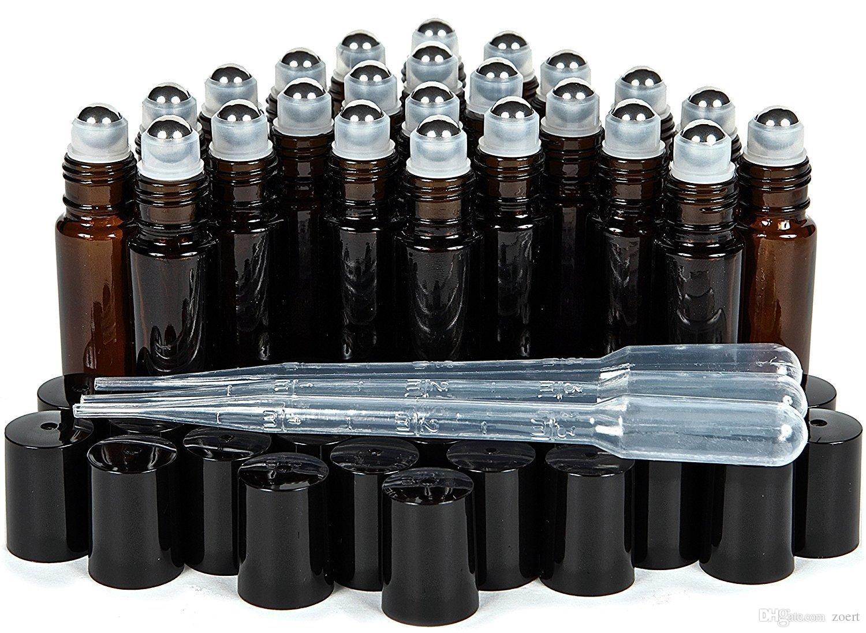 500PCS / الكثير 10ML الأزرق، واضحة والعنبر سميكة زجاج زجاجات الزيت العطري مع المعادن الرول الكرة زجاجة العطر من الضروري النفط السائل
