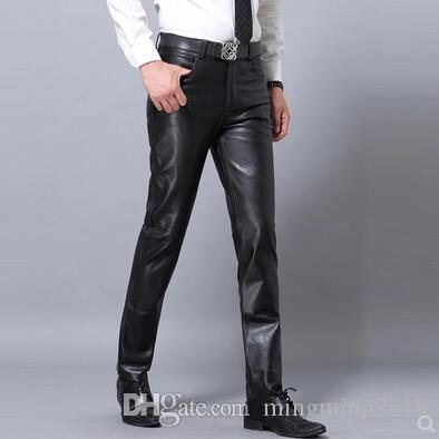 M-4XL HOT 2018 winter Men New clothing genuine leather pants Korean slim Warm motorcycle sheepskin Plus size casual leather trousers