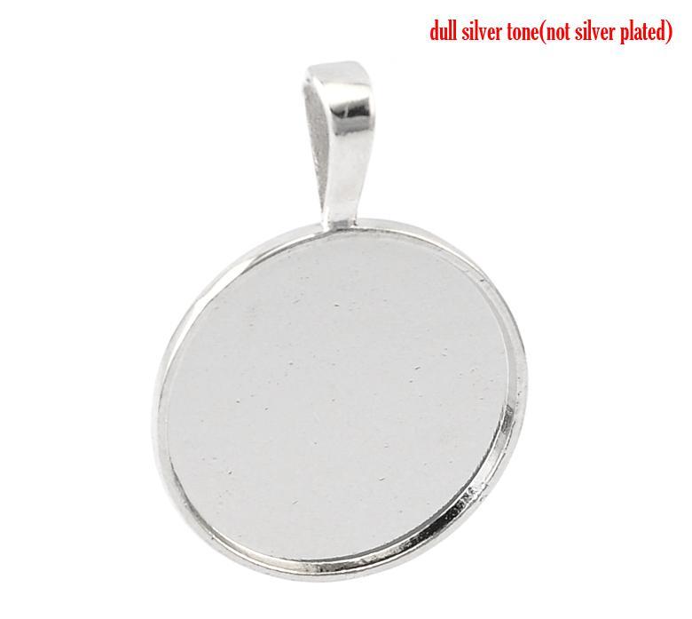 "Doreen Box Lovely 10PCs Silver Tone Round Frame Cabochon Setting Pendants 39x27mm(1 4/8""x1 1/8"")(Fit 25mm) (B21632)"