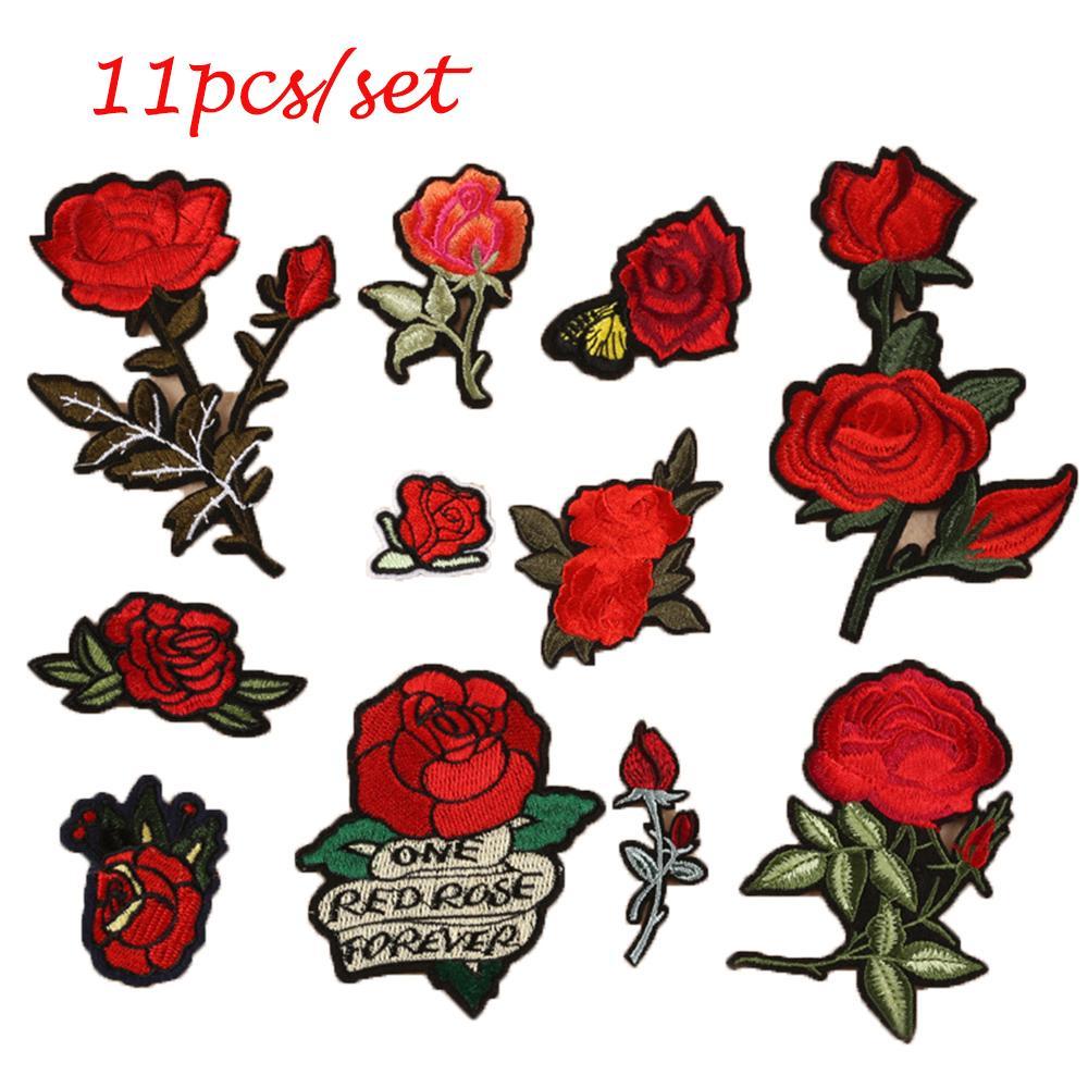 Coser bordado de flores de rosas de hierro en el parche apliques parche con pegamento ropa moda accesorio 11pcs / set
