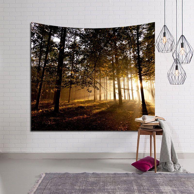 숲을 통한 햇빛 태피스 트리 비치 타월 머리판 벽 장식 Hangings Large Carpet Living Room