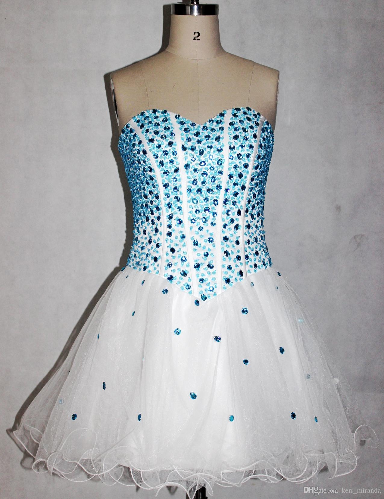 Prawdziwe zdjęcia Sukienki do domu Backless Krótkie Party Prom Suknie Sheer A-Line White Zroszony Koktajl Suknie DH1194