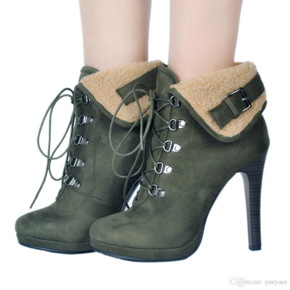 Zandina женская высокий каблук зимняя обувь искусственный мех теплые зимние сапоги Crosscriss шнуровке мода пинетки старинные партия Пром обувь A054