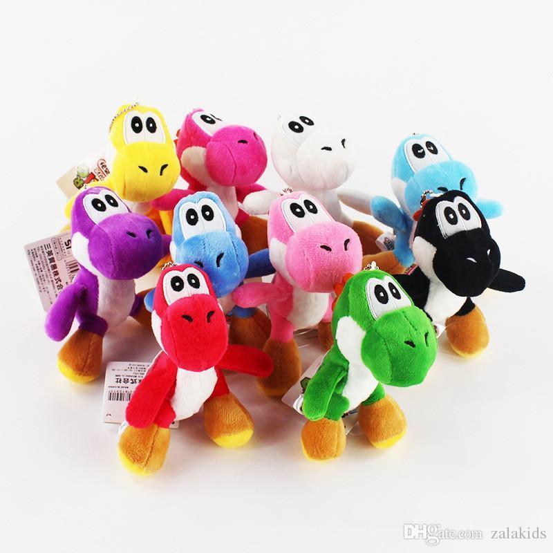"""Se puede elegir el color Super Mario Bros Yoshi Dinosaur Dragon Colgantes de peluche de juguete coloridos con llaveros Muñecos rellenos (4 """"10cm)"""