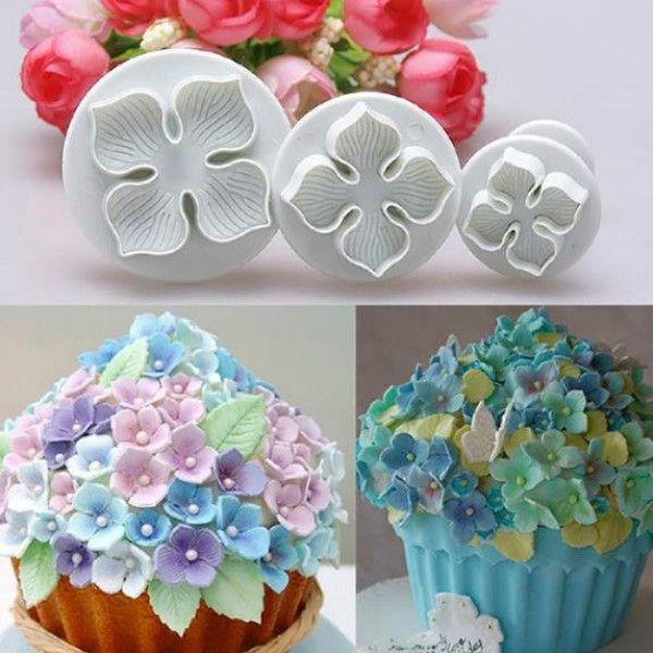 3 Unids Hydrangea Fondant Cake Decorating Sugar Craft Plunger Cutter Flower Blossom Molde DIY Cake Mold Herramientas