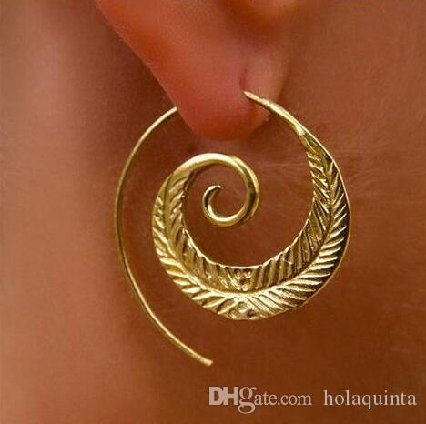 Punk Personality Round Spiral Drop Earrings Exaggerated Circle Leaf Whirlpool Gear Earrings for Women Jewelry