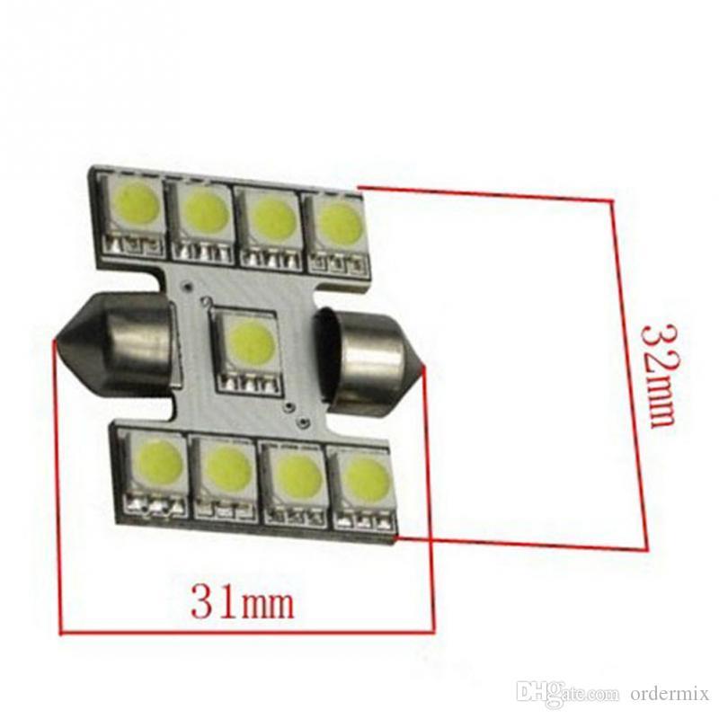 31mm C5W C10W C3W DE3021 6428 Festoon 9 LED 5050 SMD Car Płyta rejestracyjna Light Auto Obudowa Wnętrze Dome Lampy Czytanie Światła