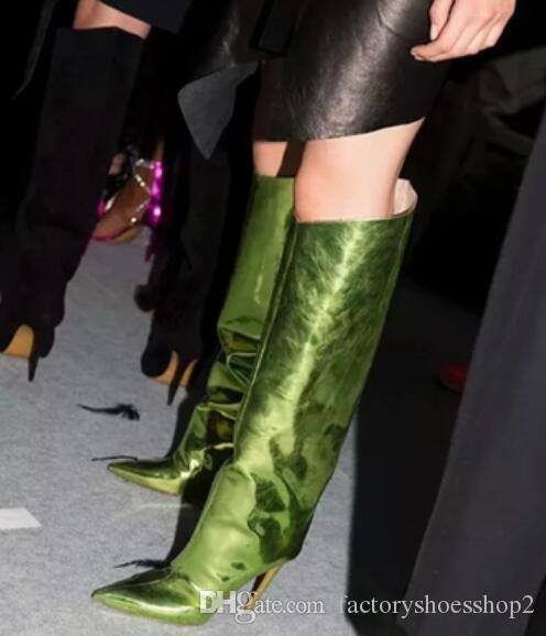 2018 donne sexy stivali alti al ginocchio in pelle specchio scarpe da donna scarpe da sera punta punta stivaletti tacco sottile stivaletti in vernice zip laterale