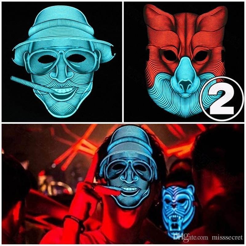 Sıcak Yanıp Cosplay Maske Cadılar Bayramı LED Maske Ses Aktif 3D Hayvan Maskeleri 20 Stilleri Parti Malzemeleri