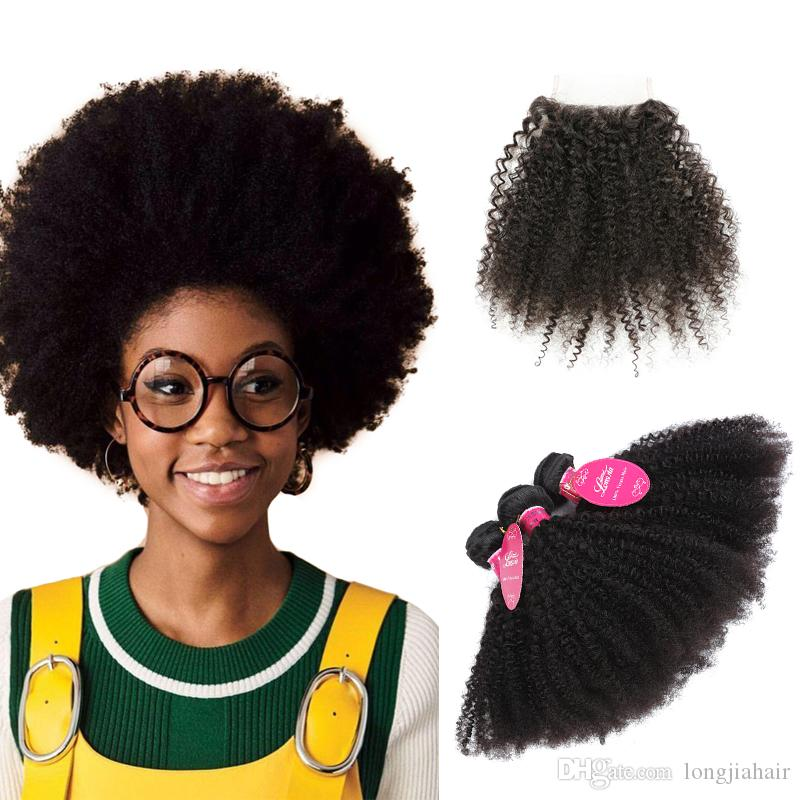 8A Malaysian Afro Kinky Curly Human Hair Bundles With Closure Cheap Virgin Hair Bundles With Lace Closure Malaysian Human Hair Extensioins