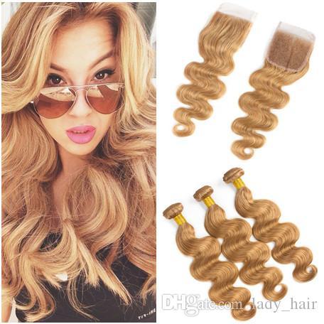 # 27 Honig Blonde Jungfrau-indische Menschenhaar-Bündel-Angebote 3Pcs mit Verschluss-Körper-Welle Erdbeere-blonde 4x4 Spitze-Schließung mit Webart-Bündeln