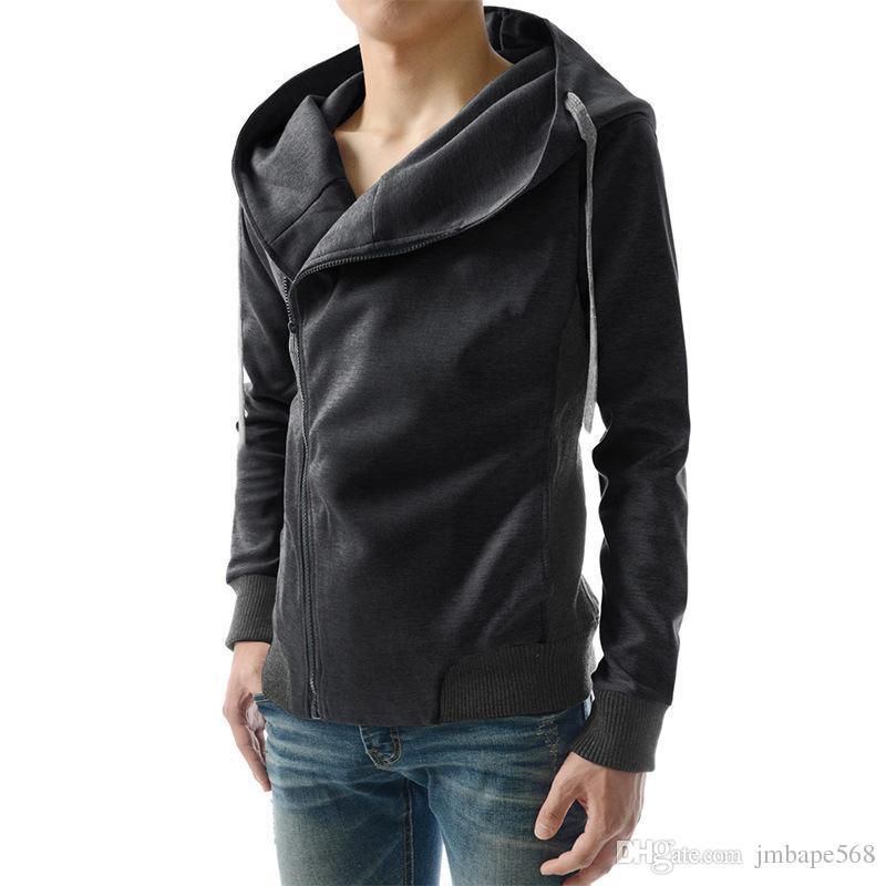 JM Wholesale oblique zipper thin section men's hooded sweater male solid color cotton Slim cardigan jacket