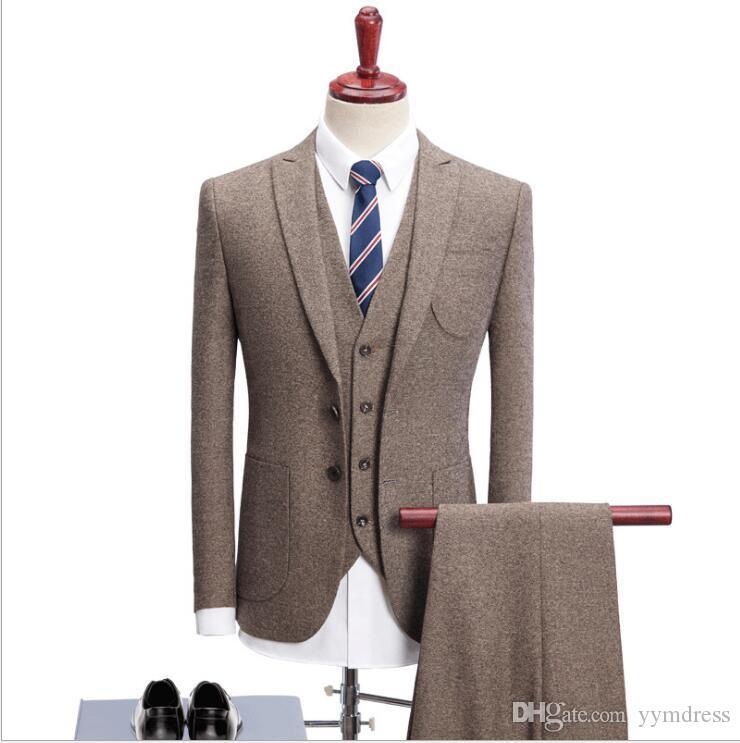 Fio de lã Tweed Herringbone casamento Tuxedos noivo terno de desgaste Ternos Groomsmen 2019 Terno de homens modesto Business Jacket + calças + colete ternos masculino 11