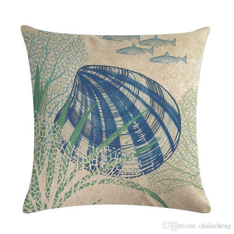 US SELLER-sofa with pillows marine life sea animal fish cushion cover