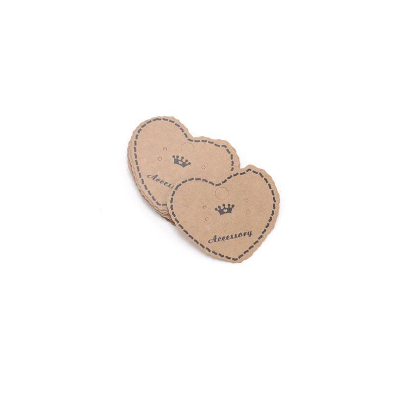 الموضة شكل قلب 5 * 4CM مجوهرات كرافت ورقة قلادة بطاقة مجوهرات القرط العرض يمكن كوستوميد LOGO بالجملة 500PCS الأسعار الكلمات