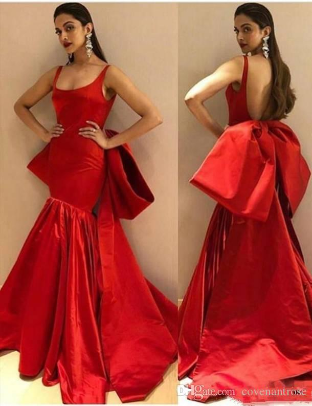 Modest Long Red Mermaid Evening Dresses with Big Bow Sexy Backless Spaghetti Straps Prom Dress Trumpet Party Gowns