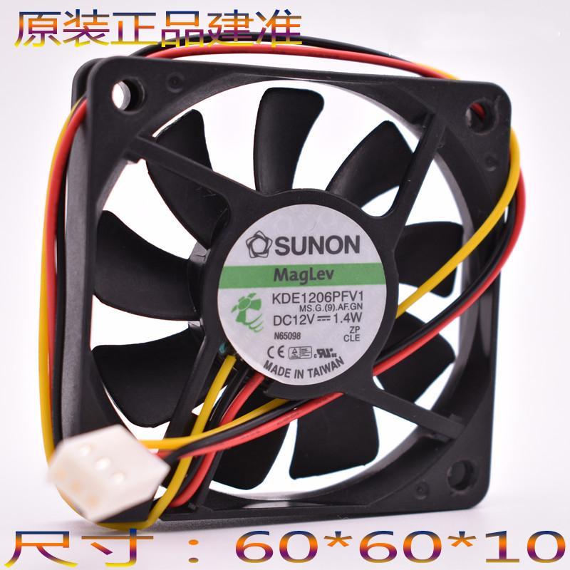 Sunon 6010 60 * 60 * 10MM 6CM DC 12V 1.4W KDE1206PFV1 مروحة تبريد رقيقة جدا مروحة تبريد صامتة