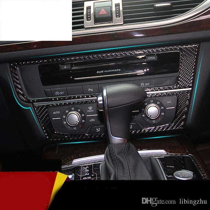 Car console control CD frame cover trim interior air conditioning knobs decorative frame sticker for Audi A6 C7 A7 Refit